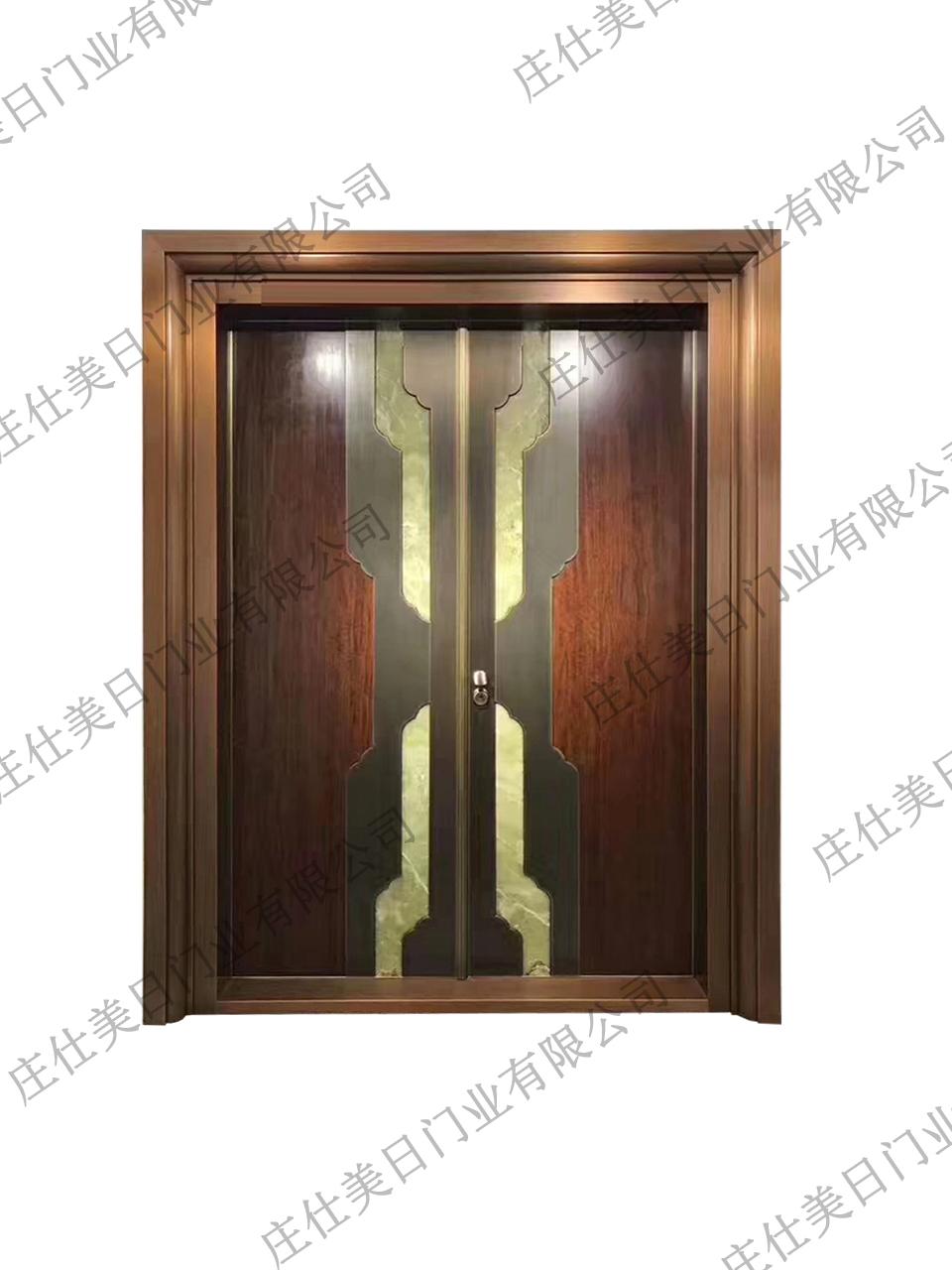 中式双开纯铜门